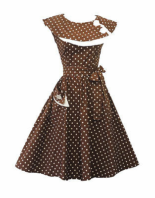Rosa Rosa Vtg 1950s Retro Brown Polka Dot Rockabilly Party Prom Swing Tea Dress
