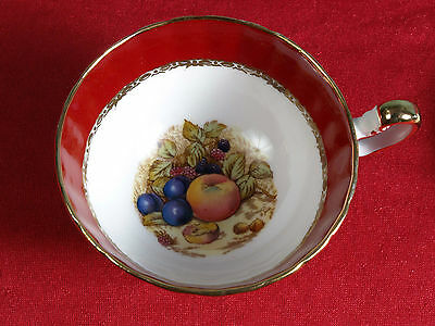 RARE Aynsley England Tea Cup and Saucer Fruit Red Signed D Jones Gold Trim