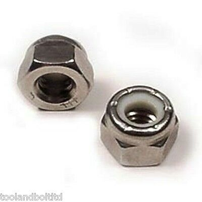 1/4 Unf Stainless Steel Nyloc Nuts 10 Pack - New