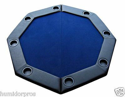 Pro Style Padded Octagon Folding Poker Table Top w/ Cup Holders and Bag Blue NEW
