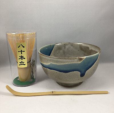 Japanese Tea Ceremony Matcha Bowl w/ Scoop & Whisk Gift Set AOKAZE Made in Japan