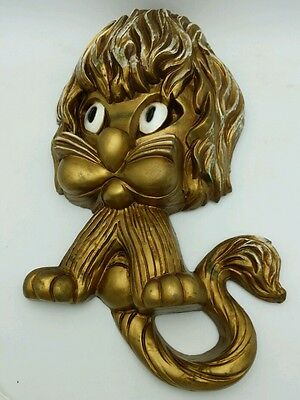 Vintage Home Interior Homco Gold Syroco Lion Wall Plaque 1970s Big Eyed Lion