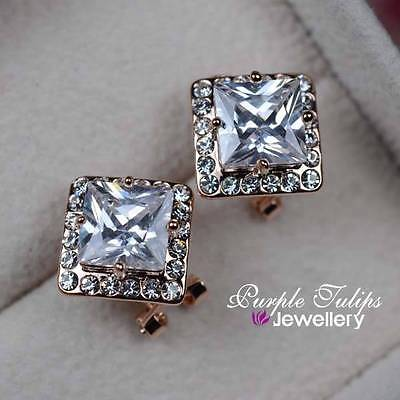 18K Rose Gold GP Rhombus Cut French Style Post Earring MadeWith SwarovskiCrystal