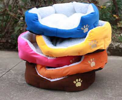 Soft Fabric Washable Dog Pet Warm Basket Bed with Fleece Lining Pad SP