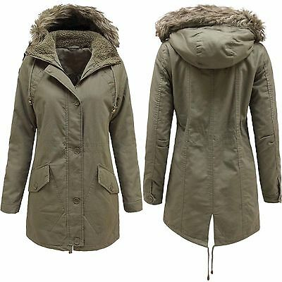 New Ladies Khaki Parka Coats Women Fur Hood Padded Combat Military Girls Jackets