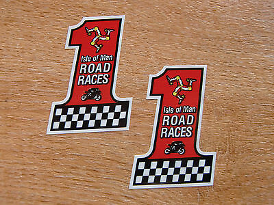 x2 ISLE OF MAN TT RACES #1 STICKER - 60mm high decal
