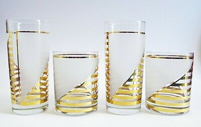 Vintage 1980s Culver Made in USA Set of 4 Glasses Lowball Tumblers Gold Stripes