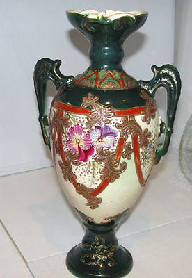 Vintage JAPANESE SATSUMA * MORIAGE VASE* Hp forest green floral  Heavy Gold
