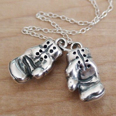 Boxing Gloves Necklace - 925 Sterling Silver - Boxing Gloves Charm Boxer *NEW*