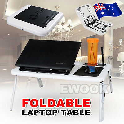 OZ Folding Portable Laptop Table Stand Desk Bed Tray Cooling Pad usb Fan