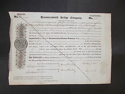 "London ""hammersmith"" Bridge - Share Certificate 1828 - Bridge Still In Use!!!"