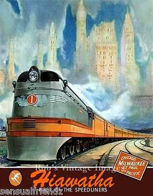 Milwaukee Road Hiawatha 1937 Chicago  CMSP Railroad Ad Antique Poster print