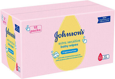 Johnson's Baby Wipes 12 x Pack of 56 Wipes (672 Wipes)  *BRAND NEW*