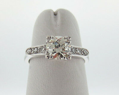 Vintage Estate 0.80ct Genuine Diamonds Old Cut 14k White Gold Engagement Ring
