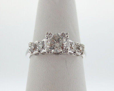 Vintage Estate 0.88ct Genuine Diamonds Solid 14k White Gold Engagement Ring