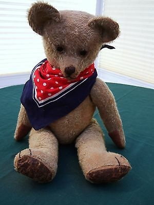"""ANTIQUE EARLY LARGE 19"""" ENGLISH STRAW-FILLED MOHAIR TEDDY BEAR c.1910"""
