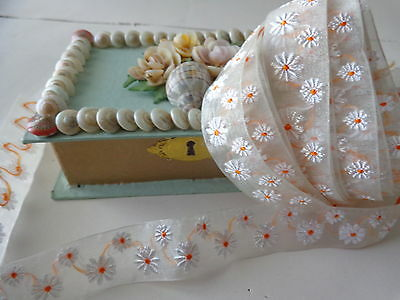 "2 yards 32"" Vintage Organza Trim with White Daisy Flowers Yellow Center ~ Doll"