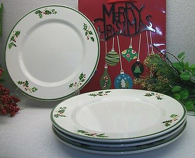 4  Christopher Radko Traditions  HOLIDAY CLELBRATIONS  Holly Berry Dinner Plates