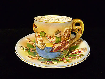 RARE OCCUPIED JAPAN CAPODIMONTE STYLE DEMITASSE CUP & SAUCER SIGNED – CIRCA 1948