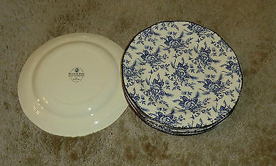 6 Wood & Sons England China Blue Colonial Rose Dinner Plates
