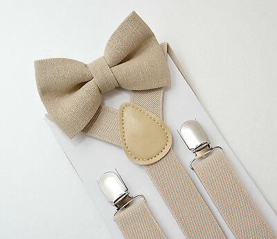 Kids Boys Baby SET Light Tan Beige Suspenders & Linen Clip on bow tie 6mon-5Y
