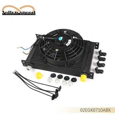 """Black 25 ROW AN-10AN Universal Engine Transmission Oil Cooler + 7"""" Universal Fan"""