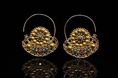 Antique Original Perfect 18K Gold Arabic Hand Made  Earring • CAD $2,286.45
