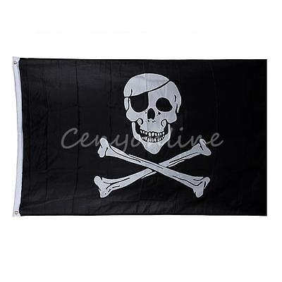 Large Skull And Crossbones Pirate Flag 5' x 3' Jolly Roger Hanging With Grommets