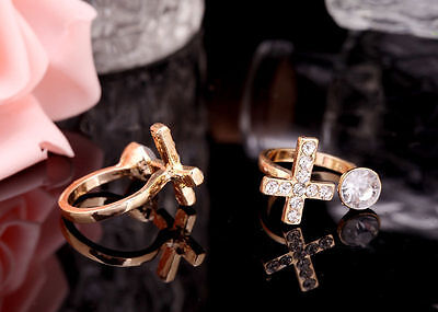 1pc New Silver/Gold Plated Cross Ring Clear Crystal Adjustable Fashion Ring