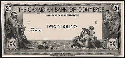 Canada $20 1917 The Canadian Bank On Commerce Face Die Essay Wl6964