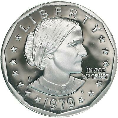 1979 S Susan B. Anthony Dollar Type 1 Filled S Gem Deep Cameo Proof US Coin