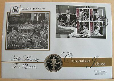 First Day Coin Cover - Coronation Jubilee HM QEII 2003 Gibraltar 50p Coin Cover