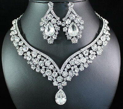 ELEGANT CLEAR AUSTRIAN RHINESTONE CRYSTAL BIB NECKLACE EARRINGS SET BRIDAL N1623