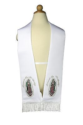 White Satin Embroidered Christening Baptism Stole Scarf Sash Lady of Guadalupe