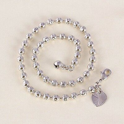 "9ct 9k White ""Gold FILLED"" Ladies BEADED ANKLE CHAIN Bell ANKLET. 10.6"" Gift"