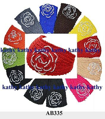 Wholesale lot 12 HEADWEAR HAIR Flower Crochet Knit Headwrap Headband Ear warmer