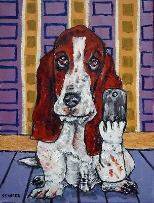 basset hound dog selfie signed art print animals impressionism 11x14 gift new