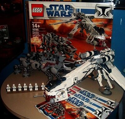 lego star wars republic dropship with at-ot walker 10195 retired rare 100% box