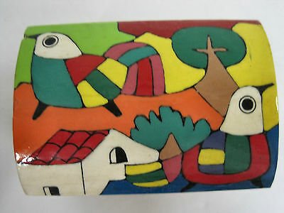 Trinket Box Ethnic Latin Mexican Folk Art Craft Hand Painted Wood Leather Hinges