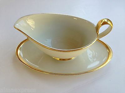 Furstenberg Germany China #0165 White Wide Gold Trim Gravy Boat & Attached Plate
