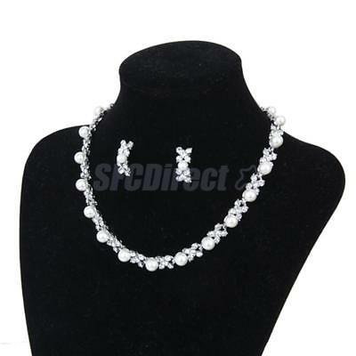 Pearl Diamante Crystal Necklace Earring Wedding Bridal Formal Party Jewelry Set