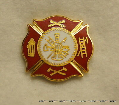 FIRE DEPARTMENT RED MALTESE CROSS pin Fireman Rescue EMT ParaMedic FireFighter