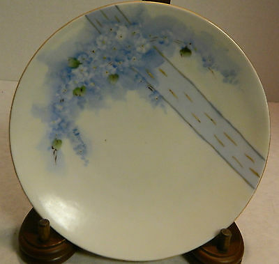 """Vintage Blue on White 6.13"""" Floral Plate Blue Stripe Germany Excellent Condition"""