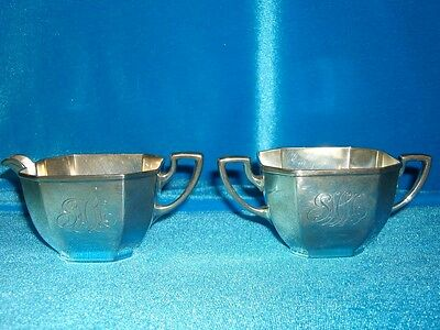 Gorham Sterling Silver W/Gold Wash Sugar & Creamer! Pattern 1305