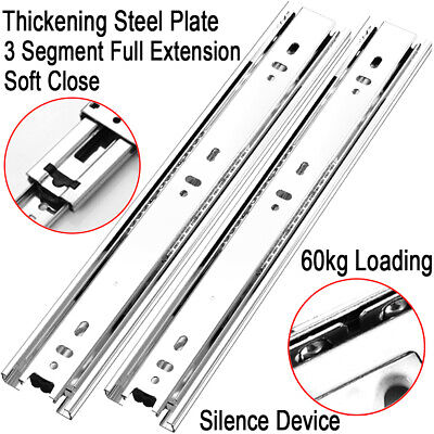 Pair of Double Fully Extension Ball Bearing Drawer Slide Runner Heavy Duty 60kg