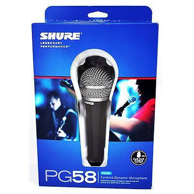 New Shure PG58-XLR Vocal Cardioid Dynamic Professional Microphone Mic