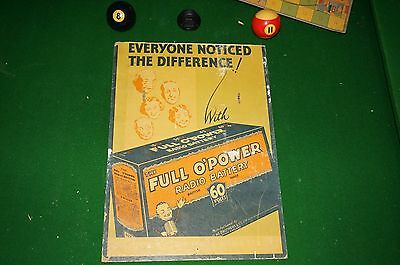 Cardboard advertising card Full O'Power radio battery British made
