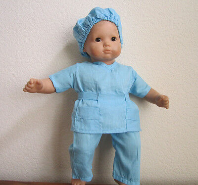 3-piece DOCTOR NURSE SCRUB SET in BLUE with Hair Cap fits Bitty Baby/Twins