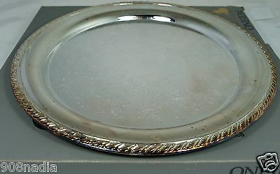 """VINTAGE SILVER PLATE ROUND SERVING TRAY 14 1/2"""" MAYBROOK ONEIDA AMERICAN MADE"""