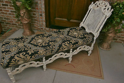 BEAUTIFUL ORNATE ANTIQUE VICTORIAN WOOD CANE CHAISE CHAIR SOFA SETTE COUCH 6 FT